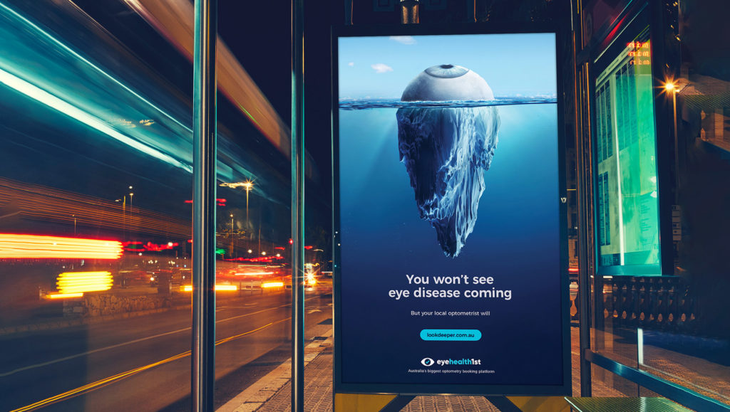 Look Deeper campaign bus shelter OOH by Messy Collective