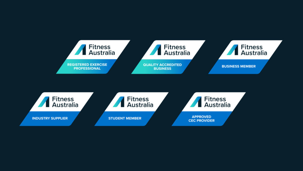 Fitness Australia's membership logos by Messy Collective