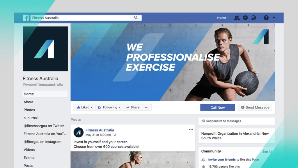 Fitness Australia Facebook page screenshot