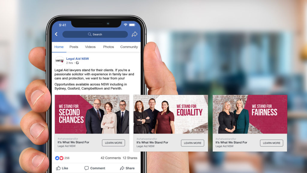 Facebook carousel post for Legal Aid NSW's 'What Do You Stand For?' campaign by Messy Collective