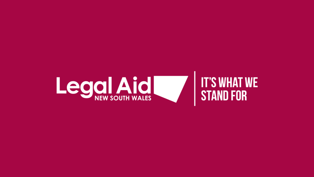 Legal Aid NSW's 'It's What We Stand For' campaign lockup by Messy Collective