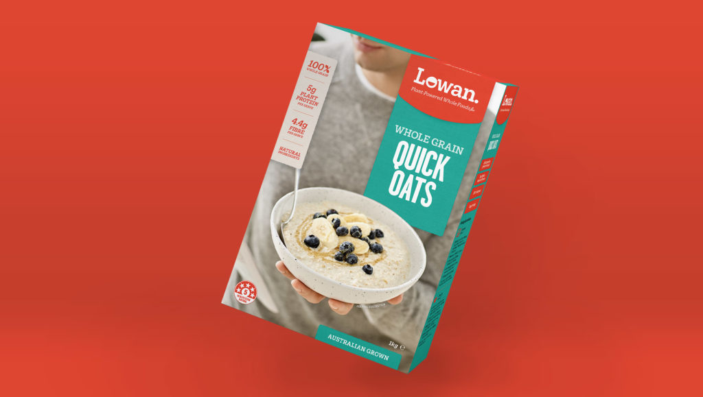 Lowan Wholegrain Quick Oats Packaging Design by Messy Collective