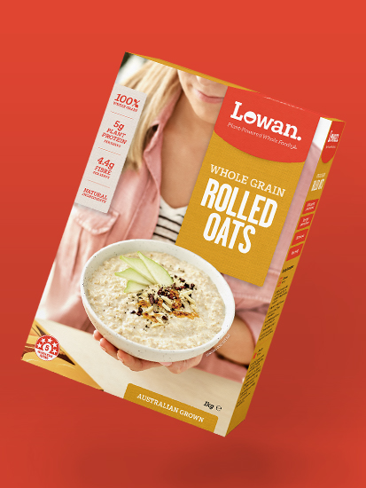 Lowan Whole Grain Rolled Oats packaging by Messy Collective