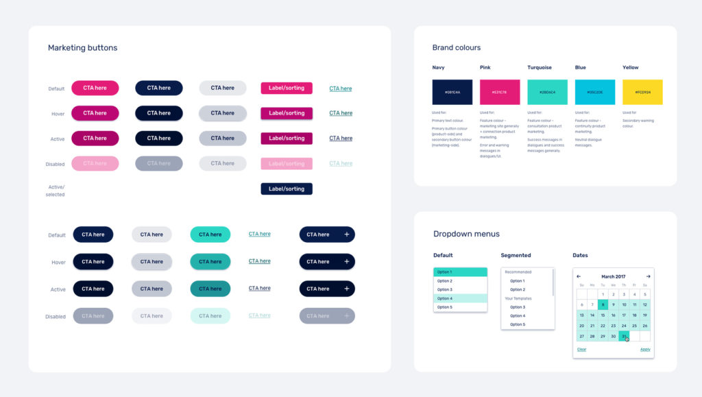 Overview of MyHealth1st Design System by Messy Collective