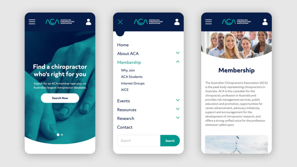 Mobile website screens of the Australian Chiropractors site by Messy Collective
