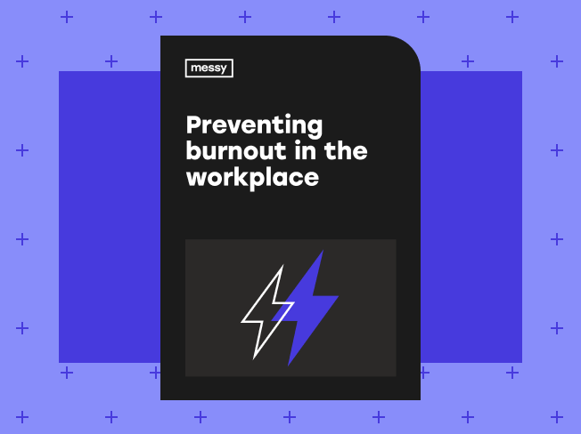 Preventing Burnout in the Workplace guide cover on purple decorative background