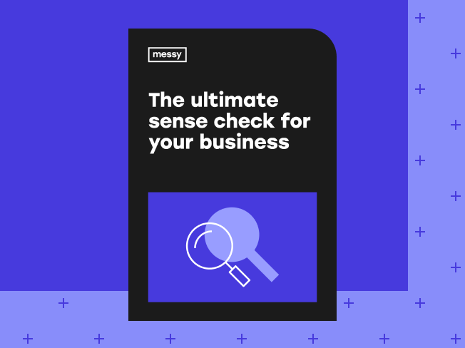 The Ultimate Sense Check for your Business guide cover on purple decorative background