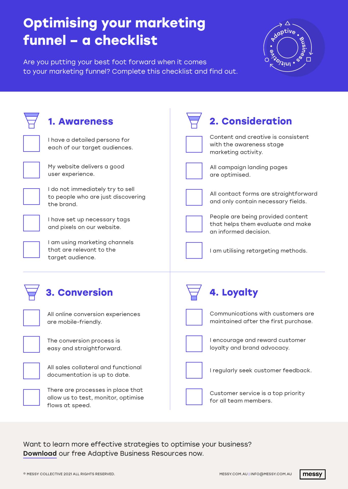 Optimising your marketing funnel checklist