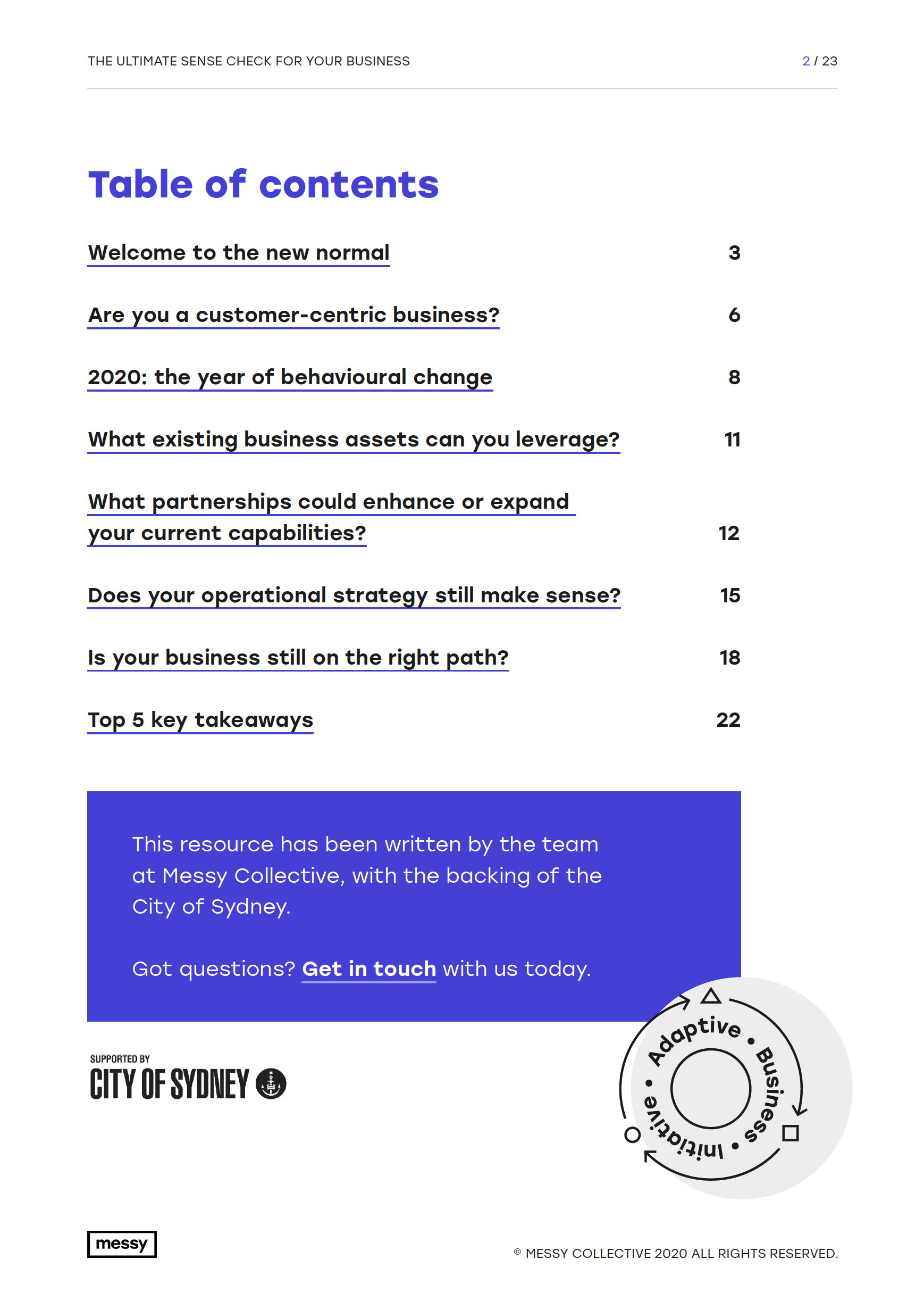 The Ultimate Sense Check for your Business guide - page 2